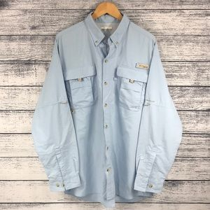 Columbia PFG Light Blue Vented Long Sleeve Shirt